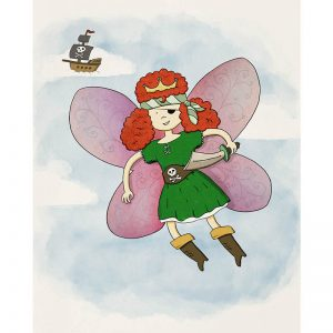 Pirate fairy princess with her ship in the clouds