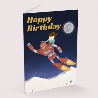 Happy Birthday card - Flying Robot