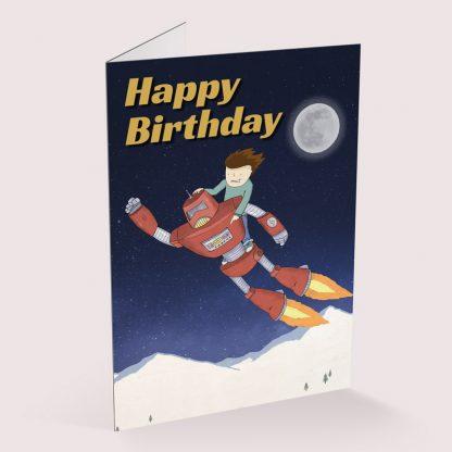 Happy Birthday card - Flying Robot