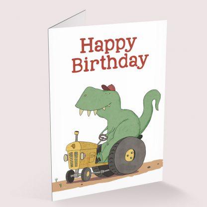Happy Birthday card - Tractorsaurus