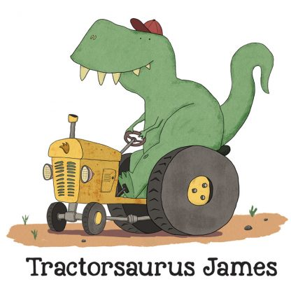 Dinosaur driving a tractor with personalised name